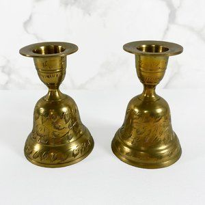 Vintage Engraved Brass Candle Holders/Bells